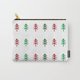 Hand drawn forest green and red trees for Christmas time Carry-All Pouch