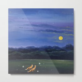 Foxes And The Summer Moon Square Metal Print