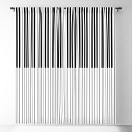 The Piano Black and White Keyboard Stripes with Vertical Stripes Blackout Curtain