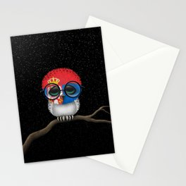 Baby Owl with Glasses and Serbian Flag Stationery Cards