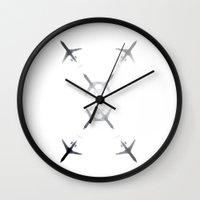 planes Wall Clocks featuring Planes by Daniela Echevarria