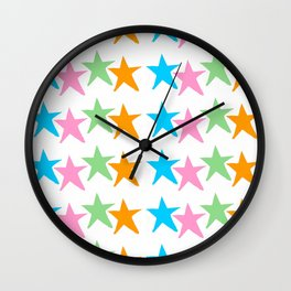 multicolor stars 2-sky,light,rays,hope,pointed,mystical,estrella,nature,spangled,girly,gentle,star Wall Clock