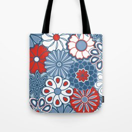 Cute Mid Century Modern Flowers - Red, White and Blue Tote Bag