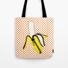 Pop Art Yellow Banana Zipped Tote Bag