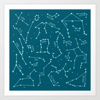 constellations Art Prints featuring Constellations by Ashley Hay