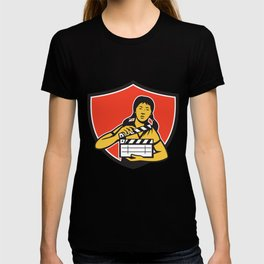 Asian Woman Movie Clapper Shield Retro T-shirt