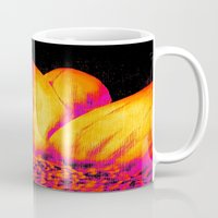 sunflower Mugs featuring Sunflower Pink Yellow by PureVintageLove
