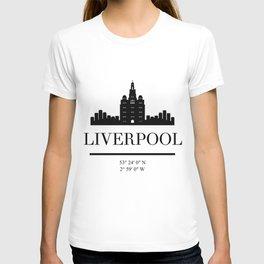 LIVERPOOL ENGLAND BLACK SILHOUETTE SKYLINE ART T-shirt