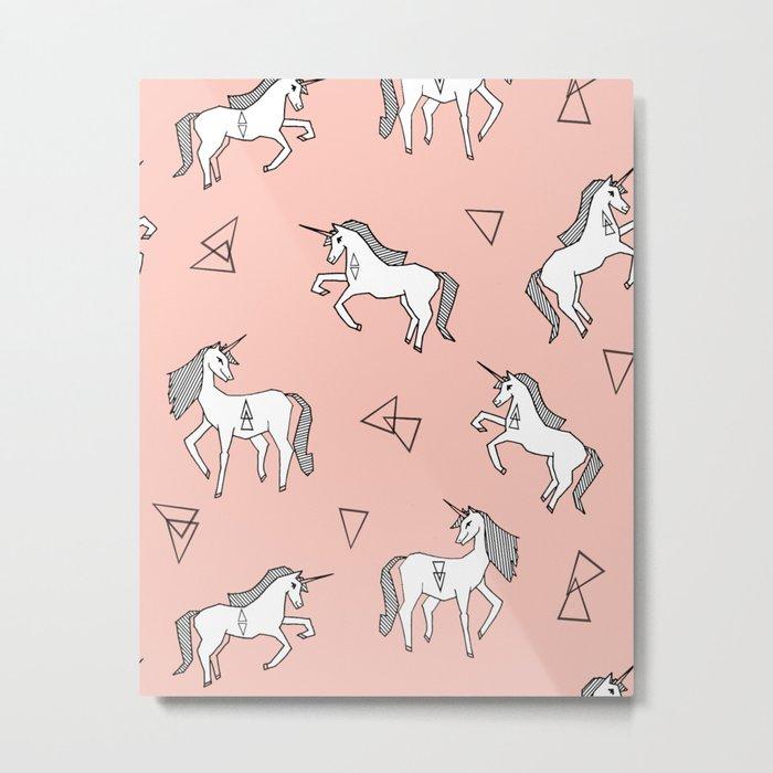 Unicorn Love - Pink by Andrea Lauren Metal Print