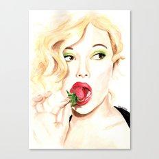 Strawberry. Scarlet Johansson. Canvas Print