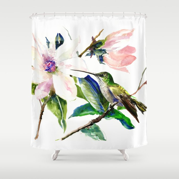 Watercolor Styling Printed Hummingbirds Shower Curtain