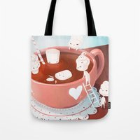 drink Tote Bags featuring Drink by Joelle Murray