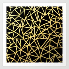 Abstract Outline Thick Gold Art Print