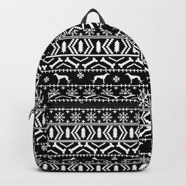 Greyhound fair isle christmas holidays pattern black and white dog gifts Backpack