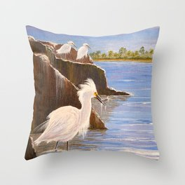 Snowy Egrets - The Expert Fisherman Throw Pillow