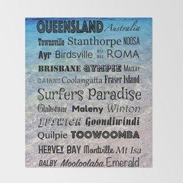 Queensland Poster Throw Blanket
