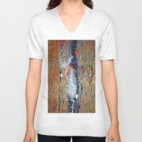 swimming V-neck T-shirts featuring swimming by  Agostino Lo Coco