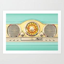 Blue teal Classic Old vintage Radio Art Print