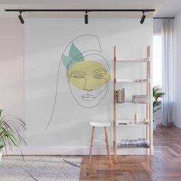 Squeeze - lemon girl - one line art Wall Mural