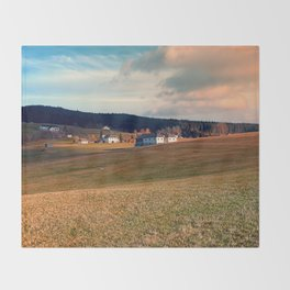 Meadows and farms in rural scenery | landscape photography Throw Blanket