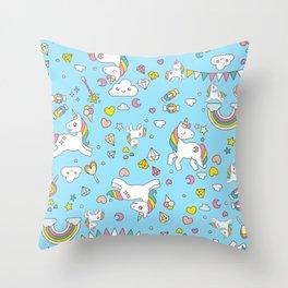 Unicorn Light Blue Pattern Throw Pillow