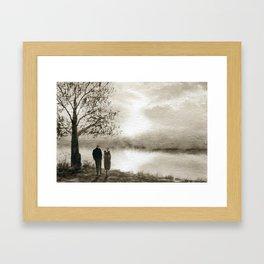 Waterside in Sepia Framed Art Print
