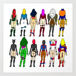 Superhero Butts - Girls Superheroine Butts LV Art Print
