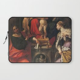 Annibale Carracci - Madonna and Child with Saints John the Baptist, John the Evangelist, and St Cath Laptop Sleeve