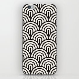 black & white geometric pattern mid century modern fish scales art deco pattern iPhone Skin
