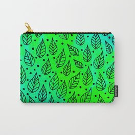 Aqua Leaves Pattern Carry-All Pouch
