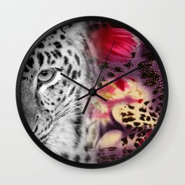 Black & White Leopard & Floral Collage Wall Clock