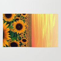 sunflower Area & Throw Rugs featuring Sunflower by Don't Be A Dick
