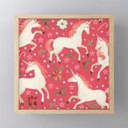 Kitschy Christmas Unicorns on Red Framed Mini Art Print