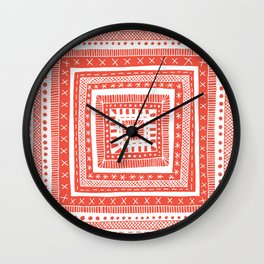 red concentric pattern square Wall Clock