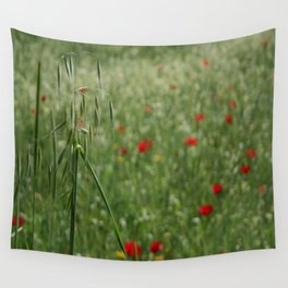 Seed Head With A Beautiful Blur of Poppies Background Wall Tapestry