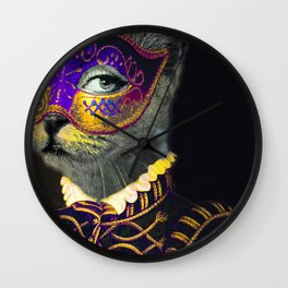 The Cat Behind the Mask Wall Clock