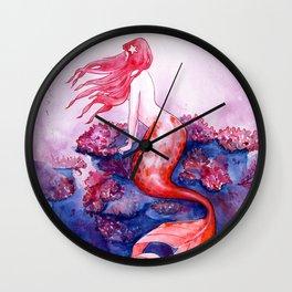 Red Coral Mermaid Wall Clock