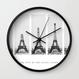 1888-1889 The Rise of the Eiffel Tower Construction Sequence Photographic Poster Wall Clock