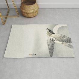Cuckoo flying at night - Japanese vintage woodblock print Rug