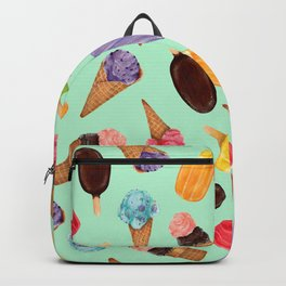 Pastel green Ice Cream cones Pattern | Ice cream and popsicle summer pattern Backpack