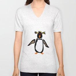 Funny Rockhopper Penguin Original Artwork Unisex V-Neck
