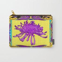 Fuchsia Butterflies &  Spider Mum Lemon Yellow Design Carry-All Pouch