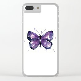 Purple Butterfly Watercolor Abstract Animal Art Clear iPhone Case