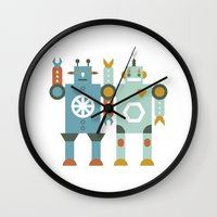 robots Wall Clocks featuring robots by Mr. Morris can Meow!