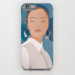 Minimal Art Girl Portrait iPhone Case