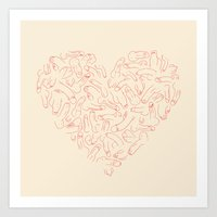 penis Art Prints featuring Penis Heart by Prepuce