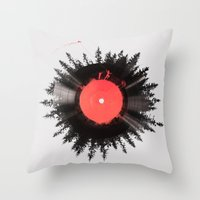 running Throw Pillows featuring The vinyl of my life by Robert Farkas