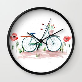 watercolor vintage bike, floral bicycle, summer bike ride Wall Clock