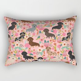 Dachshund dog breed floral pure breed weener dogs doxie dachsie must have Rectangular Pillow