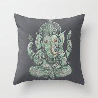 ganesha Throw Pillows featuring Ganesha by Thomcat23